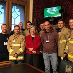 Margaret Greenwood with Merseyside FBU members